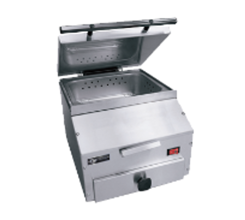 """EmberGlo ES5M 12 3/8"""" x 14"""" x 18 3/4"""" Stainless Steel Countertop Steamer with Self-Contained Water Supply - 120V, 1500 Watts"""
