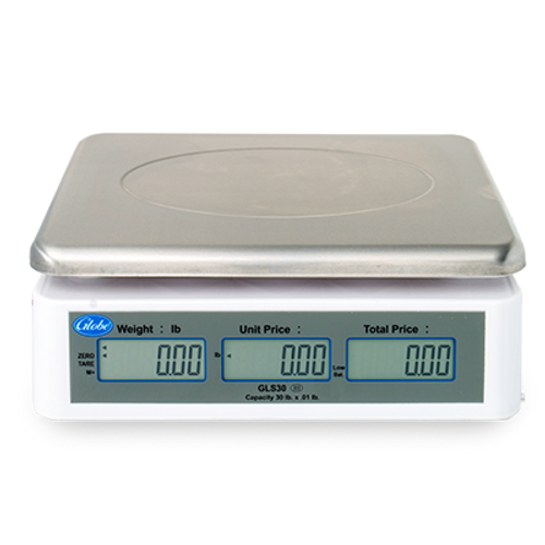 Globe GLS30 30 lb Price Computing Scale w/ LCD Display - Rechargeable Battery, 115v