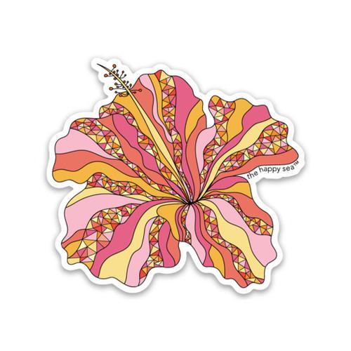 """3"""" Pink Hibiscus Vinyl Sticker"""