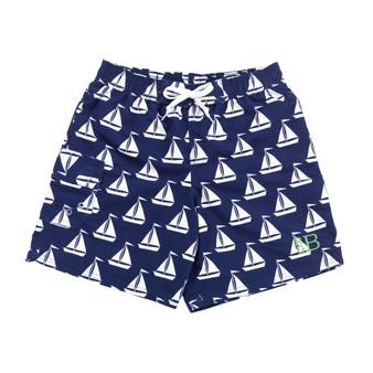 Monogrammed Sail Away Swim Trunks