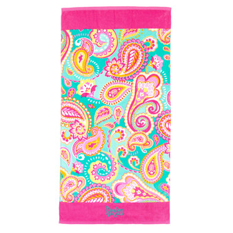 Monogrammed Summer Paisley Beach Towel
