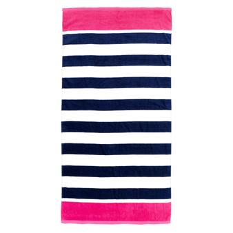 Monogrammed Prep Stripe Beach Towel