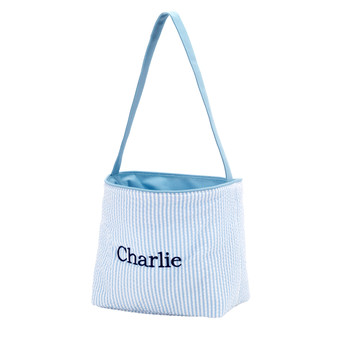 Monogrammed Blue Seersucker Easter Bucket