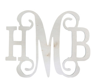 Monogrammed Classic Vine Wood Wall Hanger UNFINISHED
