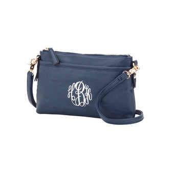 Monogrammed Bree Navy Crossbody Purse