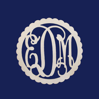 Monogrammed 22 in Scallop Wood Wall Hanger