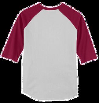 Monogrammed Raglan Jersey Back- White / Cardinal