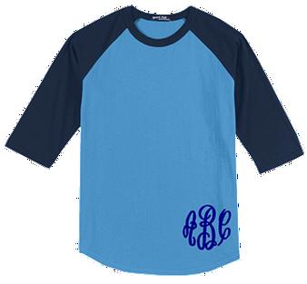 Monogrammed Raglan Jersey- Carolina Blue/ Navy