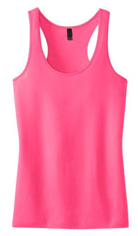 Monogrammed District Juniors Racerback Tank - Neon Pink