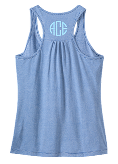 Monogrammed Ladies Mini Stripe Gathered Racerback Tank- Lapis Blue