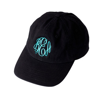 Monogrammed Black Ball Cap