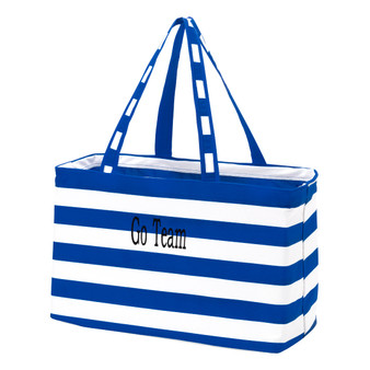 Monogrammed Royal Blue Stripe Ultimate Tote