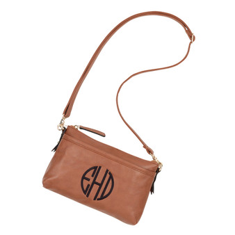 Monogrammed Bree Camel Crossbody Purse