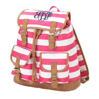 Monogrammed Pink Stripe Sawyer Campus Backpack