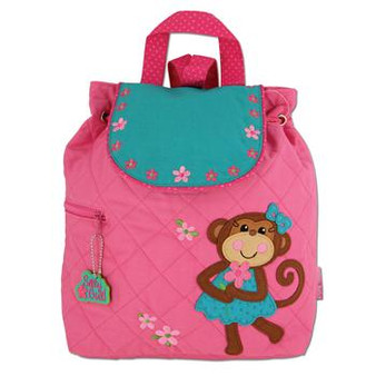 Monogrammed Stephen Joseph Quilted Backpack Monkey (Girl)