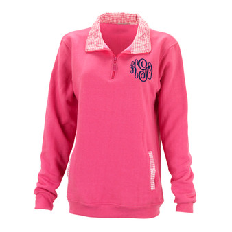 Monogrammed Pink Pullover / Gingham