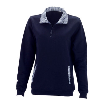 Monogrammed Navy Pullover/ Gingham