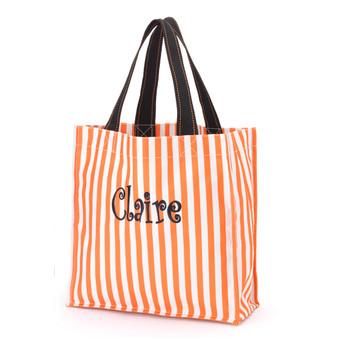 Monogrammed Orange Stripe Halloween Tote