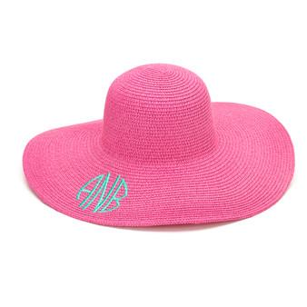 Monogrammed Hot Pink Adult Sun Floppy Hat
