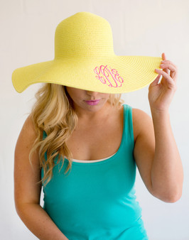 Monogrammed Yellow Adult Sun Floppy Hat