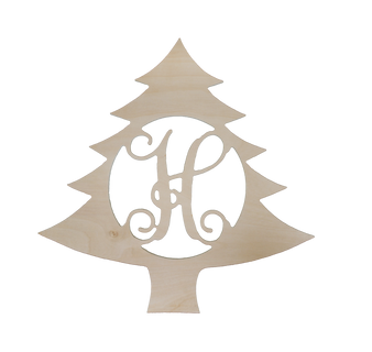 """Monogrammed 18"""" Wooden Single Initial Christmas Tree Wall Hanger"""