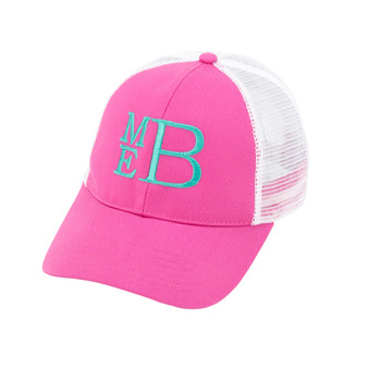 Monogrammed Hot Pink Trucker Hat