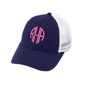Monogrammed Navy Trucker Hat