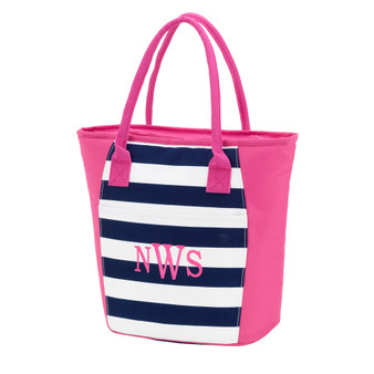 Monogrammed Prep Stripe Insulated Cooler Tote