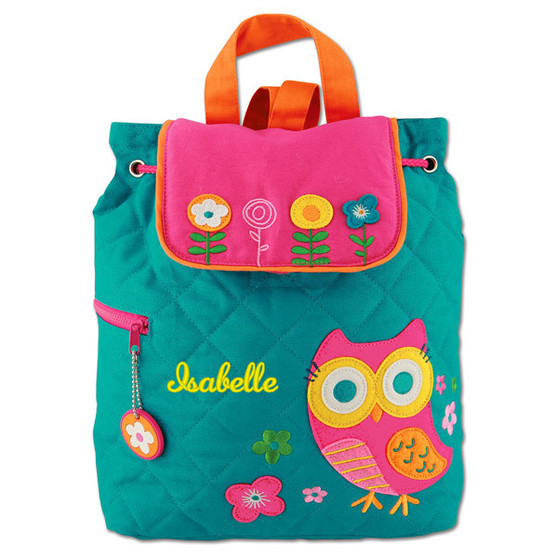 Monogrammed Stephen Joseph Quilted Backpack Owl