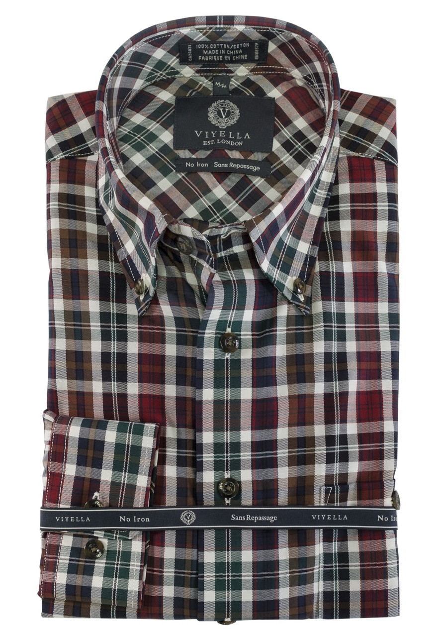 Viyella Long Sleeve Plaid Shirt Hunter Greenmaroon