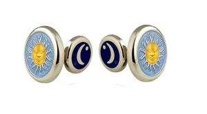 David Oscarson Celestial Cuff Links - Azure Blue & Gold