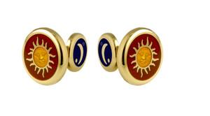David Oscarson Celestial Cuff Links - Red & Gold