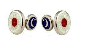 David Oscarson Celestial Cuff Links - White & Saffron