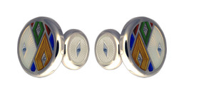 David Oscarson Harlequin Cuff Links - Opalescent White