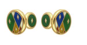 David Oscarson Harlequin Cuff Links - Emerald Green