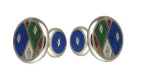 David Oscarson Harlequin Cuff Links - Sapphire Blue