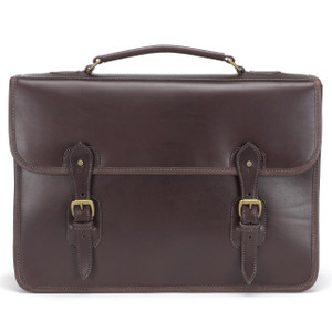 Tusting Harrold Wymington Leather Briefcase in Dark Brown Miret Bridle