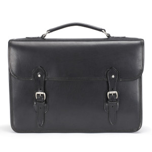 Tusting Harrold Wymington Leather Briefcase in Black Miret Bridle