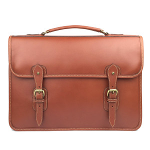 Tusting Harrold Wymington Leather Briefcase in Tan Miret Bridle