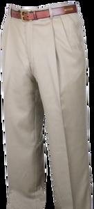 Berle Worsted Wool Gabardine, Self Sizer Pleated Front Slacks
