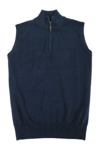 Viyella 1/4 Zip Sleeveless Mock Neck Sweater