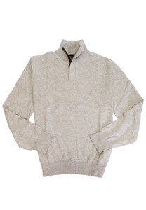 Viyella 1/4 Hidden Zip Mock Neck Long Sleeve Sweater