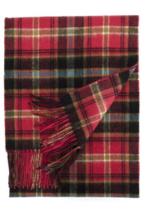 Viyella Double Faced Scarf --Wine-Green-Red
