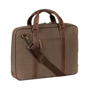 Boconi Bryant LTE Zip Top Handle Brief Bag in Heather Brown