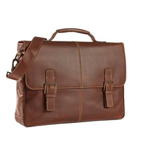 Boconi Bryant Saddle Messenger Bag in Antiqued Mahogany