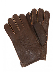 Aston Leather and Sheepskin Top-Stitched Gloves in Rugged Castano