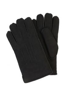 Aston Sheepskin Top-Stitched Gloves in Suede Black