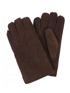 Aston Sheepskin Top-Stitched Gloves in Suede Brown Brisa