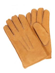 Aston Sheepskin Top-Stitched Gloves in Suede Sahara Tan