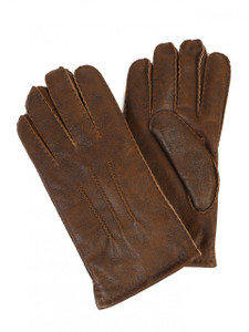 Aston Leather and Sheepskin Top-Stitched Gloves in Rugged Whiskey